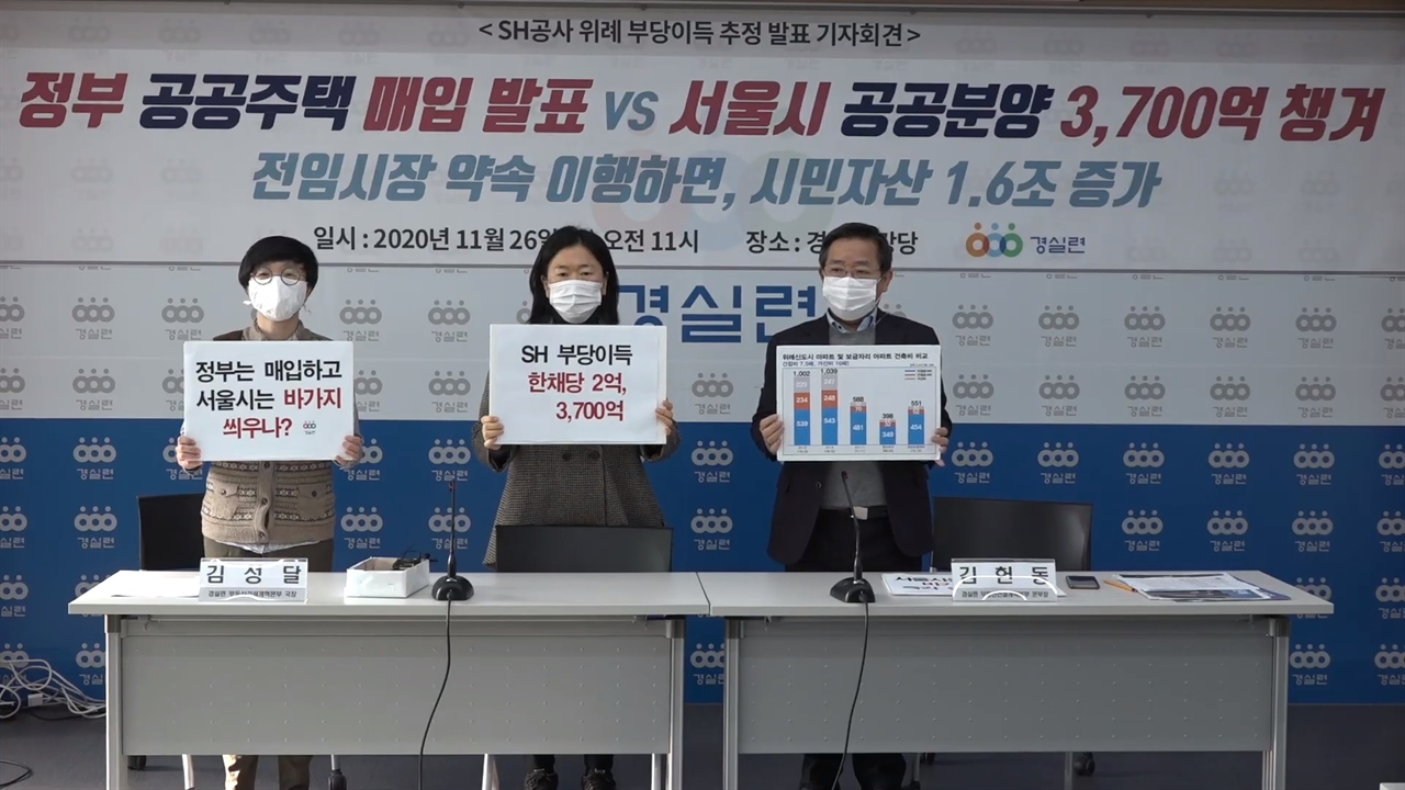 경실련이 26일 기자회견을 열고 SH공사가 위례신도시 분양으로 3700억원의 폭리를 취했다고 밝혔다