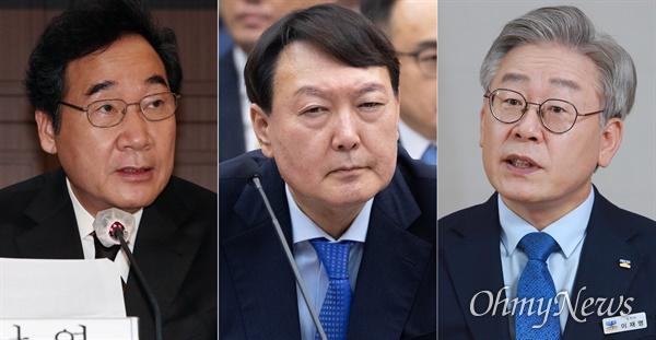 왼쪽부터 이낙연 더불어민주당 대표, 윤석열 검찰총장, 이재명 경기도지사.