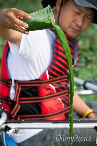 제1회 오체투지환경상 공로상을 수상한 정수근 대구환경운동연합 생태보존국장(오마이뉴스 시민기자) 활동 모습.