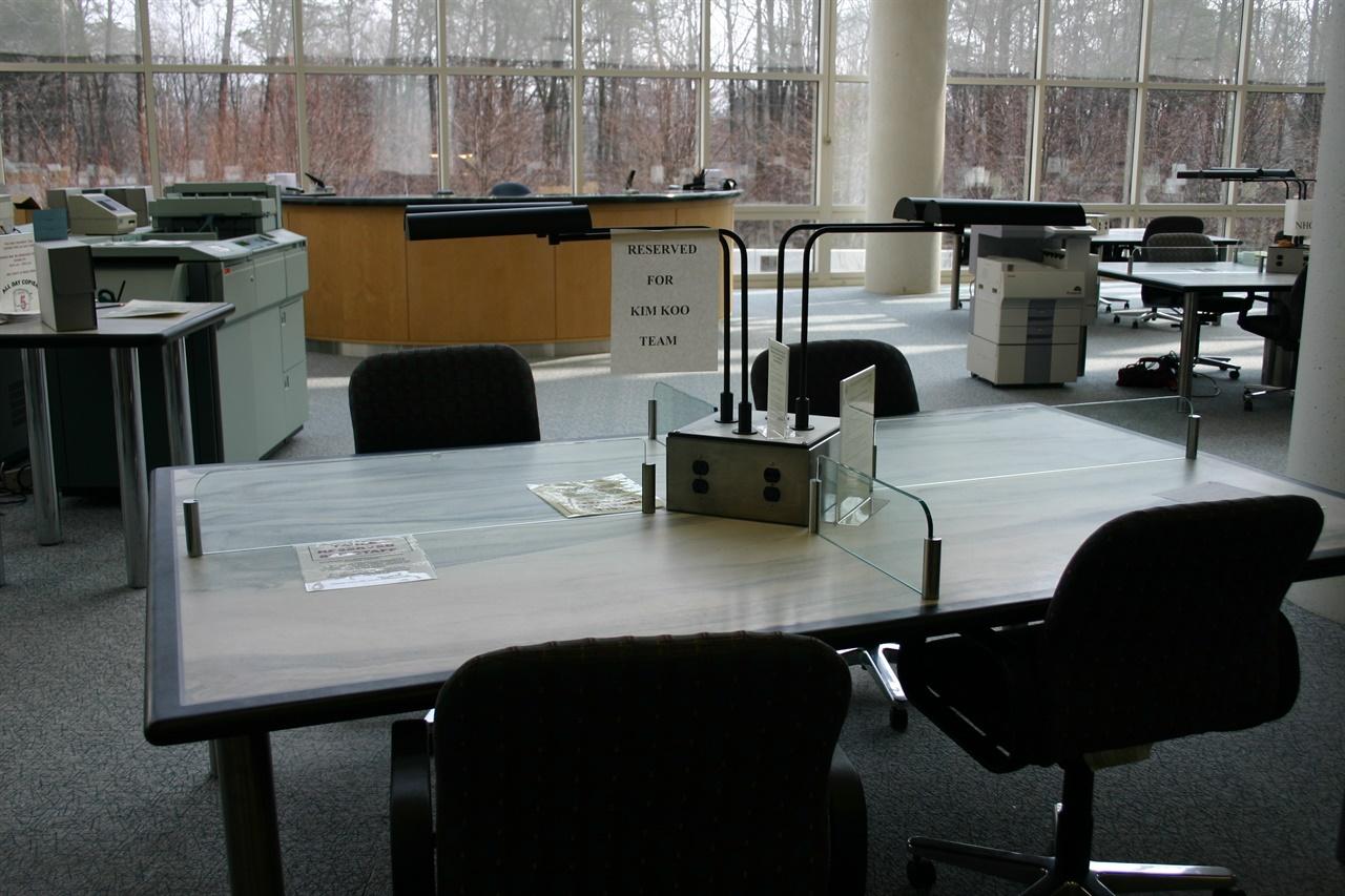 NARA 2층 자료실 김구 팀 좌석