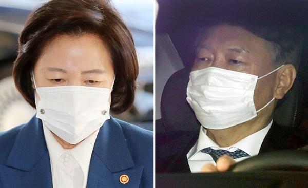 추미애 전 법무부장관(왼쪽)과 윤석열 전 검찰총장.