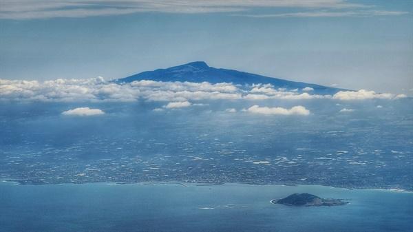 한라산 비행기에서 바라다본 풍경