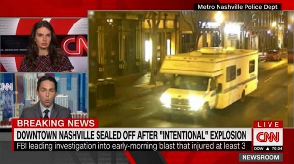 미국 테네시주 내슈빌에서 발생한 차량 폭발 사고를 보도하는 CNN 뉴스 갈무리.