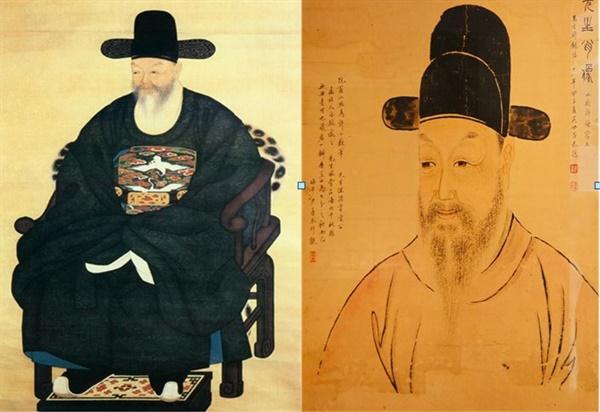 추사의 절친 권돈인이 이한철에게 주문하여 그린 김정희 초상(좌측. 보물 제547-1호)과 추사의 수제자 소치 허련(小痴 許鍊 )이 그린 추사의 초상(우측)