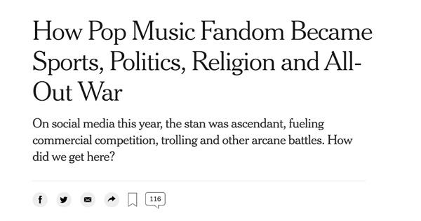 뉴욕타임스의 조 코스카렐리(Joe Coscarelli)는 2020년 대중음악 팬덤이 스포츠, 정치, 종교 등 사회 전반에서 영향력을 행사했다는 기사로 한 해를 정리했다.