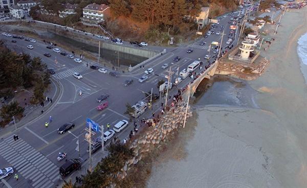 2021년 새해 첫 날 강릉 경포해변 인공폭포 인근 도로에 일출 관광 차량들이 주차해 있는 모습