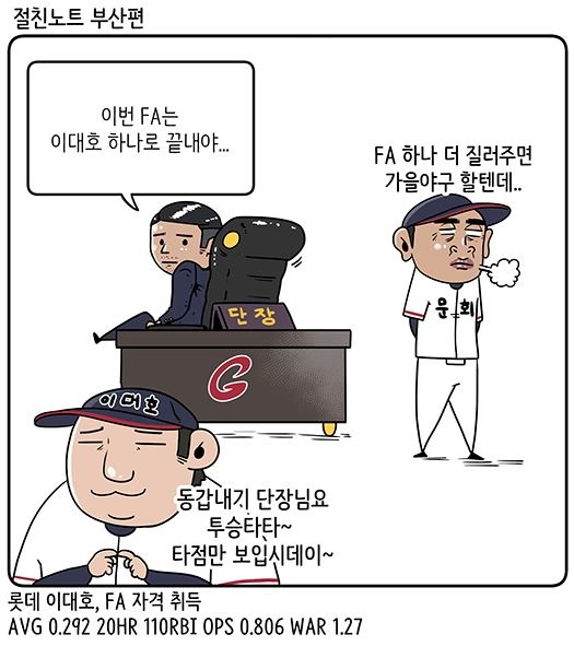 FA 계약 금액 못지않게 기간이 중요한 이대호?(출처: KBO야매카툰/엠스플뉴스)