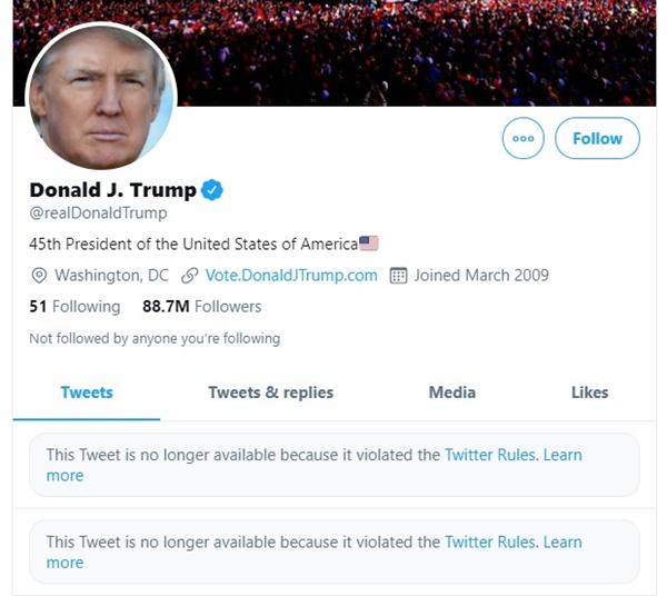 트위터 측이 게시물을 삭제하고 사용을 정지한 도널드 트럼프 대통령 계정 갈무리.