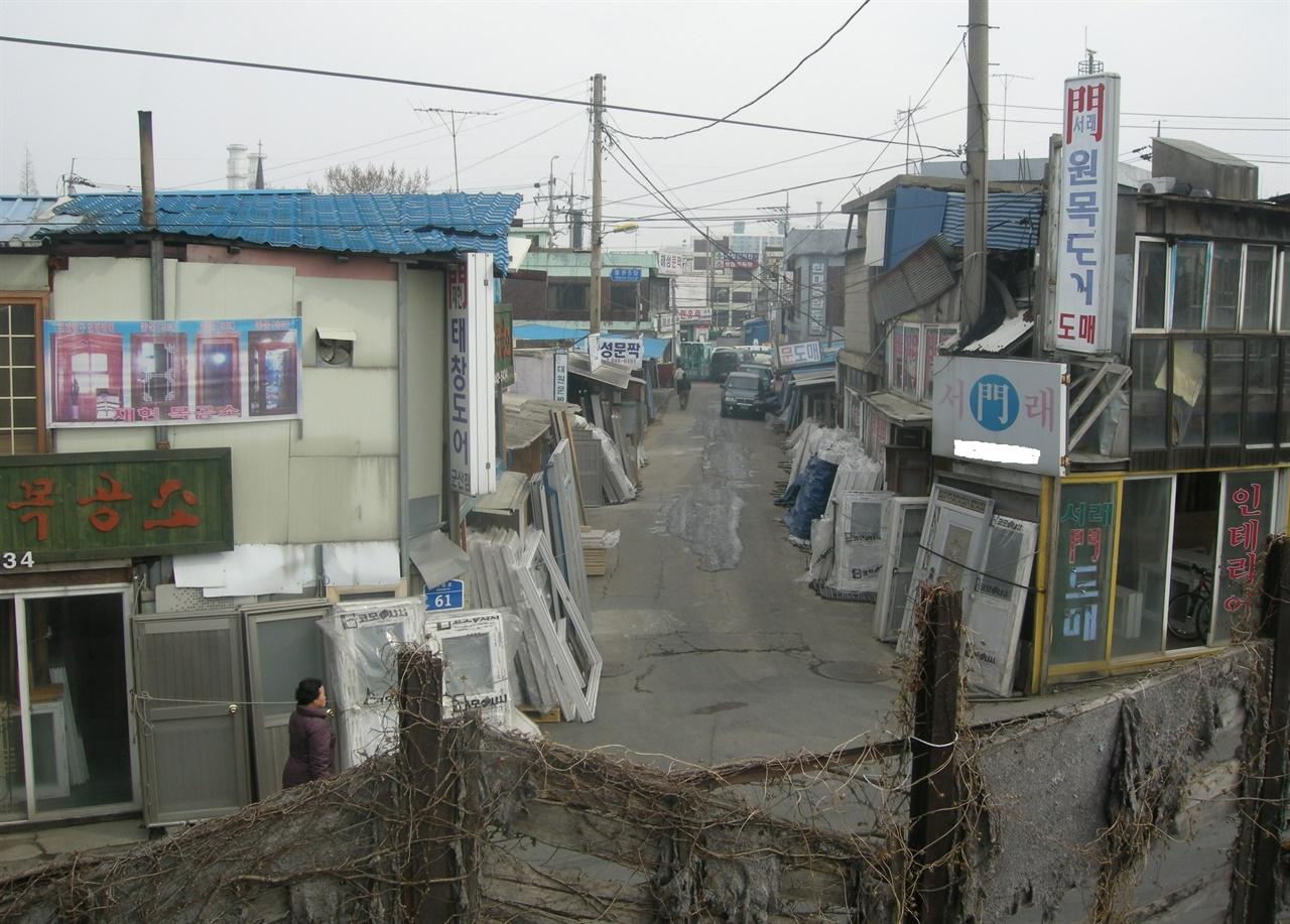 서래산에서 바라본 '경포천 수문' 자리.(2011년 찍음)