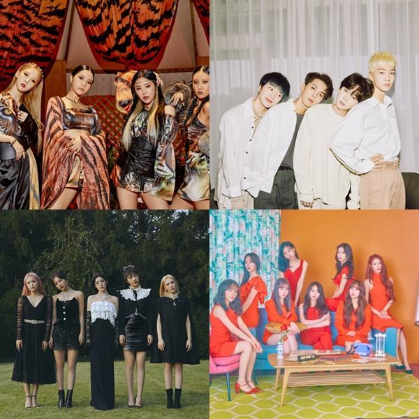 2014년 데뷔해 올해 재계약 논의를 해야하는 인기 그룹들이 상당수다. 마마무-위너-러블리즈-레드벨벳 (사진 맨위 왼쪽부터 시계방향)