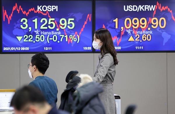 코스피는 전 거래일보다 22.50포인트(0.71%) 내린 3,125.95에 거래를 마친 12일 오후 서울 중구 하나은행 딜링룸에서 딜러들이 대화하고 있다.