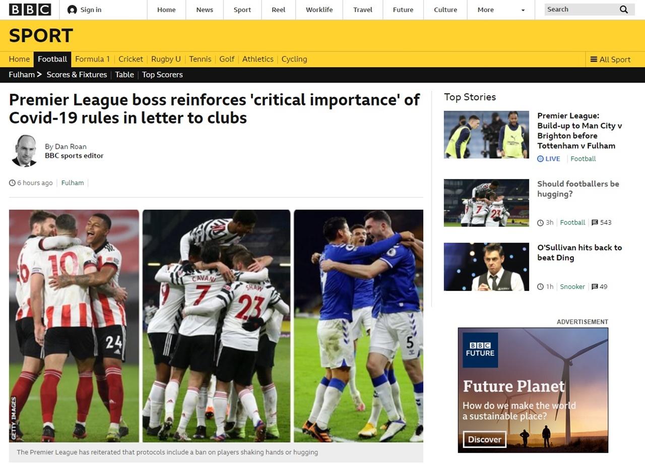 프리미어리그 선수들의 코로나19 방역지침 위반 논란을 보도하는 영국 BBC 갈무리.