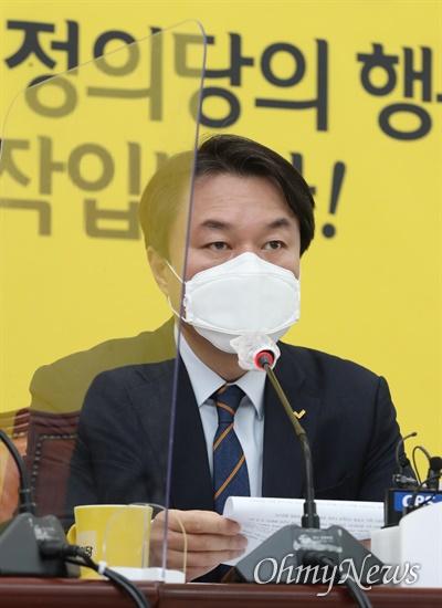 정의당 김종철 대표가 14일 오전 국회에서 열린 상무위원회에서 발언하고 있다.