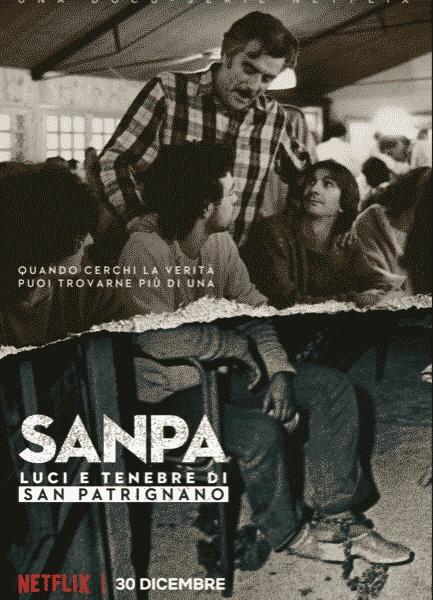 영화 <산 파트리냐노> 포스터. 앉아있는 사람 발목에 쇠사슬이 채워져있는 게 보인다. 중앙에 서있는 사람이 무촐리.