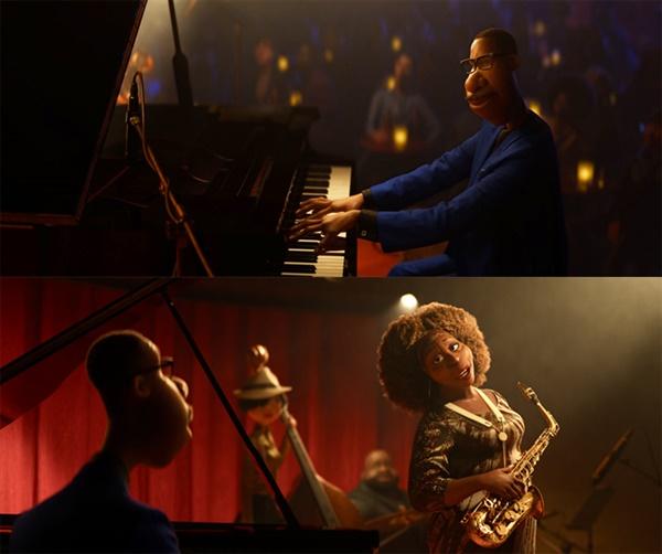 영화 '소울'의 한 장면.  뉴욕이라는 현실 세계 속을 표현하기 위해 존 바티스트는 재즈, 힙합, 포크 등의 음악을 적극 활용한다.