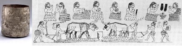 소 쟁기가 밭 가는 모습이 새겨진 잔으로 약 5천 년 전 박트리아 지방에서 만든 것으로 보입니다.(농경 향연 그림 잔, 미호뮤지엄 소장)?
