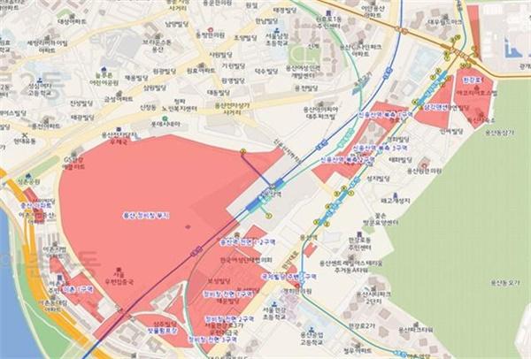 용산 정비창 부지 토지거래허가구역 지정 구역(안)