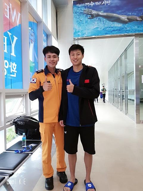 2019년 광주에서 열린 '광주세계수영대회'에서 중국어 통역을 맡아 기념촬영했다