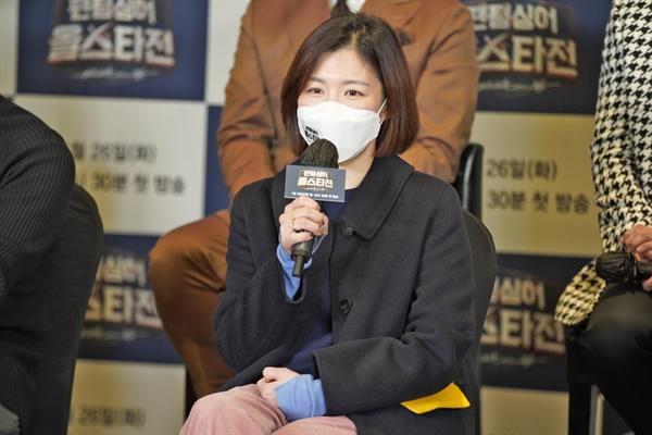 26일 오후 온라인으로 진행된 JTBC <팬텀싱어 올스타전> 제작발표회에서 김희정 PD가 기자들의 질문에 답하고 있다.
