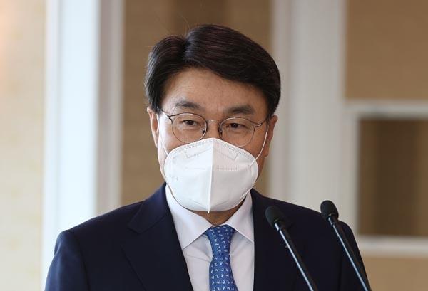 2일 오후 서울 강남구 포스코센터에서 열린 제1차 그린철강위원회에서 최정우 한국철강협회 회장이 발언하고 있다.