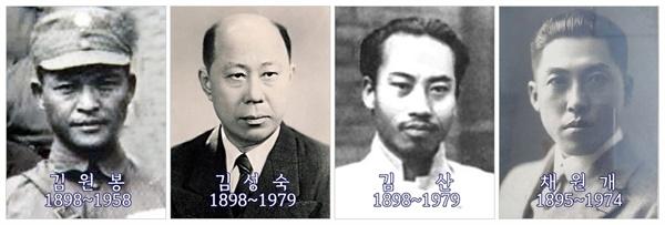 황푸군관학교와 중산대학에는 자기혁신을 꾀한 의열단원들이 대거 입교했다. 김원봉과 김산은 황푸군교에, 김성숙은 중산대학에 들어갔다. 채원개는 1927년 임정에서 황푸군교에 파견한 교관으로 복무했다.
