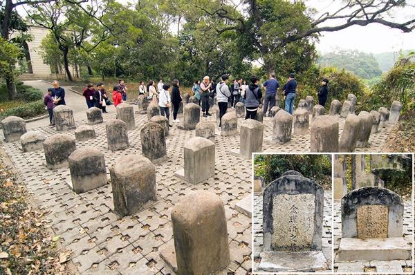 1925년 중국국민당이 천중밍을 토벌한 동정에서 희생된 황포군관학교 출신 교군을 안장한 동정진망열사묘원의 학생묘역. 66기의 묘비 가운데 두 기의 주인이 한인 생도, 평북 정주 출신의 1904년생 김근제와 충북 괴산 출신의 1899년생 안태다.(오른쪽 아래)