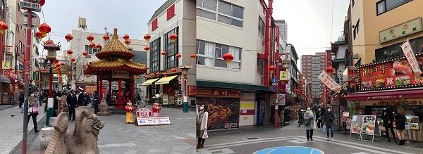 고베 난킹마치 중국 거리 모습입니다. 설날이지만 사람이 많지 않습니다.