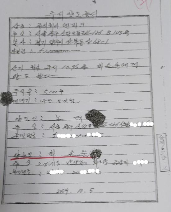 노덕봉씨와 윤석열 검찰총장 장모 최은순씨가 체결한 엔파크 주식 양도증서.