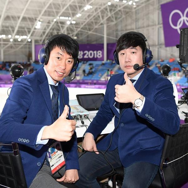 평창 동계올림픽 당시 제갈성렬 위원의 모습(왼쪽). 옆은 그의 파트너 SBS 배성재 캐스터.