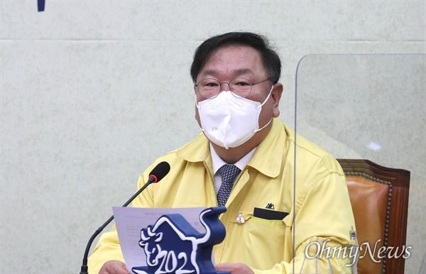 더불어민주당 김태년 원내대표가 22일 오전 서울 여의도 국회에서 열린 최고위원회의에서 발언하고 있다.