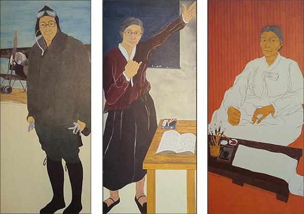 권기옥 권기옥, 김마리아, 남자현 지사(왼쪽부터) 윤석남 그림