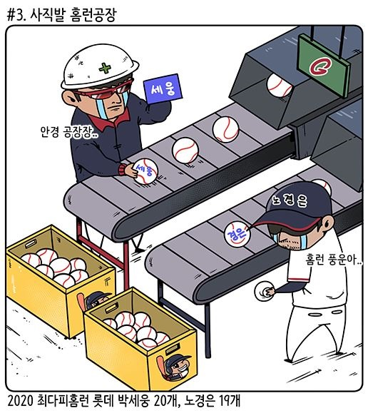 최다 피홈런 1위와 2위에 오른 롯데 박세웅과 노경은 (출처: KBO야매카툰/엠스플뉴스)