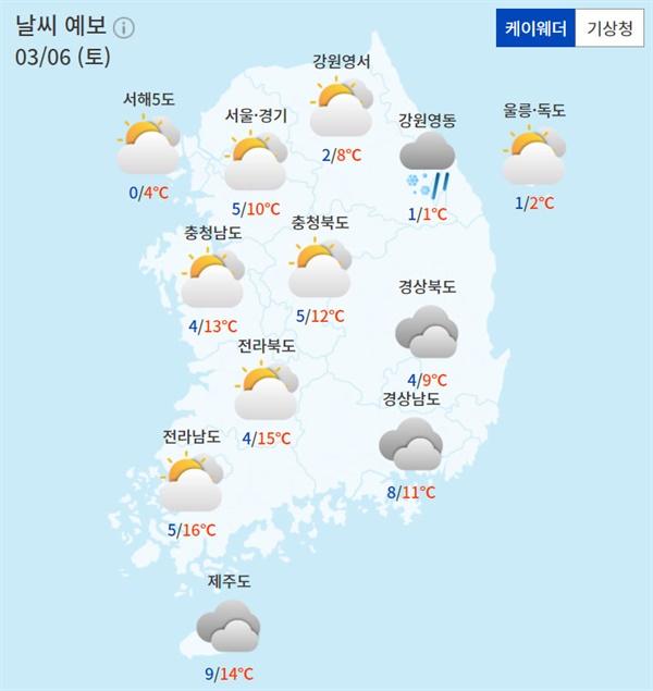 주요 지역별 토요일(6일) 날씨 전망