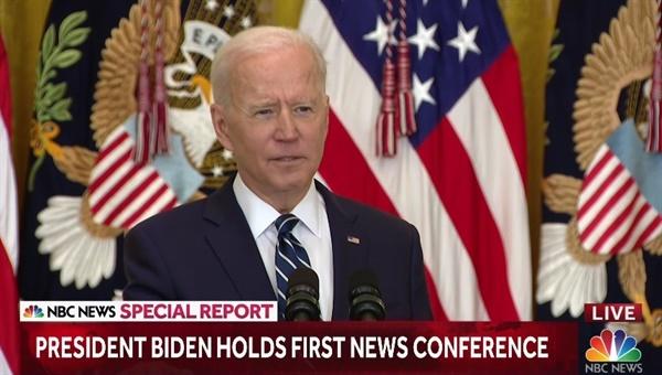조 바이든 미국 대통령의 공식 회견을 중계하는 NBC 방송 갈무리.