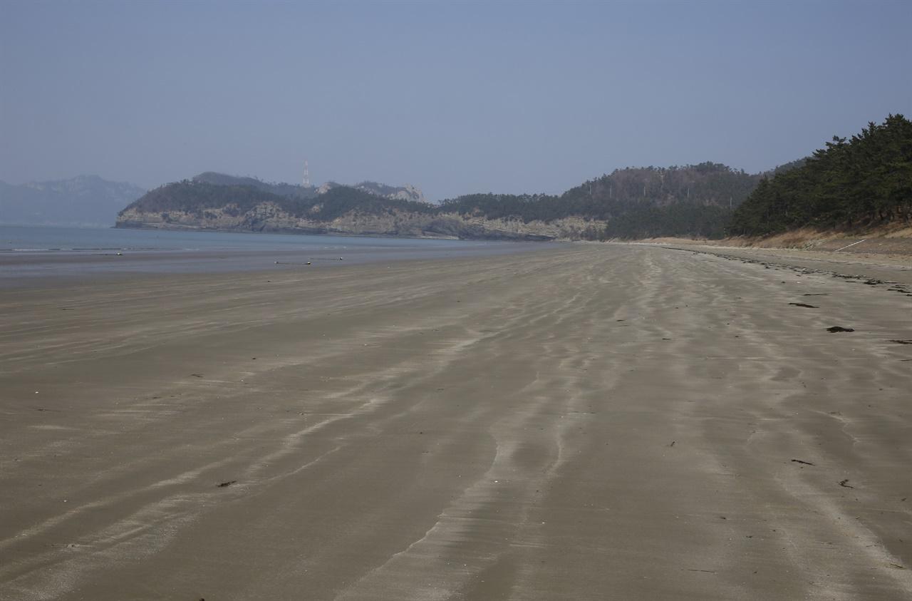 3월의 관매도해수욕장 전경. 가늘고 부드러운 모래가 단단해 '떡모래밭'으로 불린다.