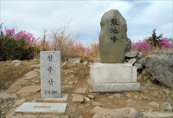 천주산 주봉인 용지봉 정상에서.