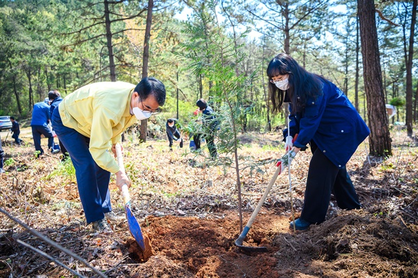 남해군 신규 공무원들, 식목일 나무 심으며 새출발.
