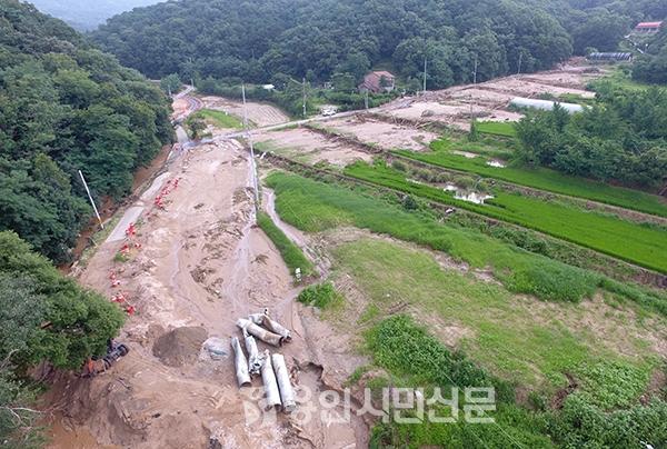 지난해 8월 집중호우로 산사태로 농지가 유실된 처인구 백암면 박곡리 수해현장 모습.