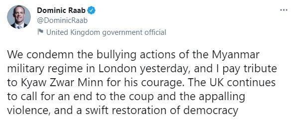 쪼 츠와 민 주영 미얀마 대사를 지지하는 도미닉 라브 영국 외무장관 트윗