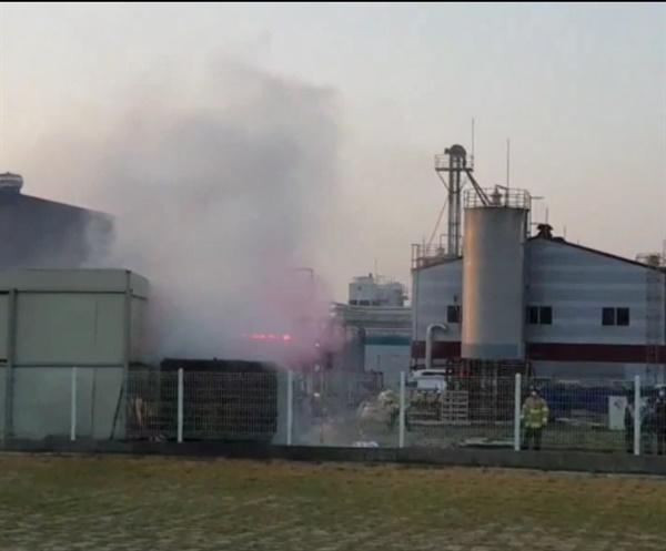 9일 오전 예당일반산업단지의 한 화학공장 쓰레기 처리시설에서 화재가 발생했다.