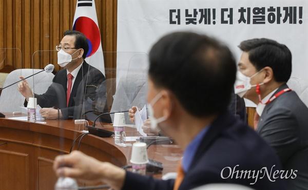 주호영 국민의힘 대표 권한대행이 9일 오전 서울 여의도 국회에서 열린 원내대책회의에서 모두발언을 하고 있다.