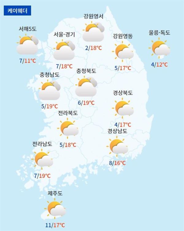 주요 지역별 토요일 날씨 전망(자료제공=케이웨더)