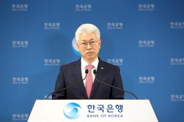 박양수 한국은행 경제통계국장이 9일 서울 중구 한국은행에서 열린 2021년 1/4분기 국민소득(잠정) 설명회에서 발표하고 있다.