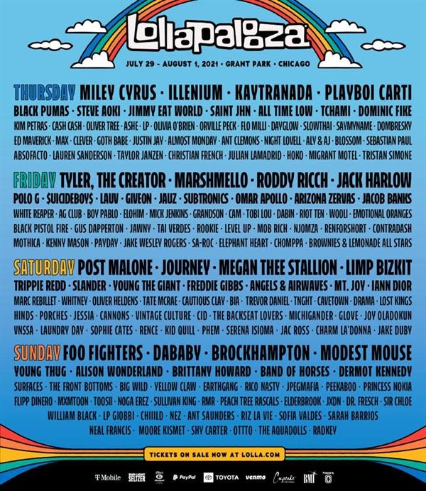 오는 7월 29일부터 8월 3일에 걸쳐 롤라팔루자(Lollapalooza) 페스티벌이 미국 시카고에서 열린다.