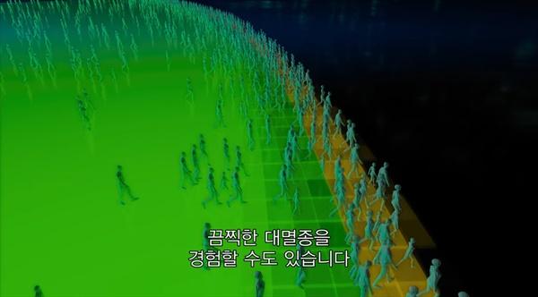 인류는 위험 한계선(바운더리, baoundaries)을 향해 쉬지 않고 계속 걸어간다. (스크린샷)