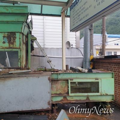 60대 노동자 전수권씨가 2020년 7월 경남 창원 소재 ㅇ업체 소유 파지압축 기계에 머리와 팔이 끼어 사망했다. 사진은 해당 압축 기계 모습.