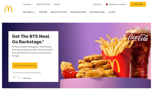 방탄소년단 세트를 소개하는 미국 맥도날드 공식 홈페이지