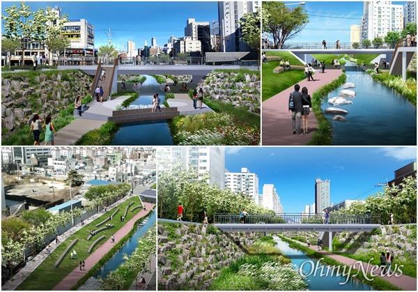 굴포천 생태하천 복원사업 후 조감도. 인천시 부평1동 행정복지센터에서 부평구청까지 1.5km 구간으로 2023년에 준공할 예정이다.