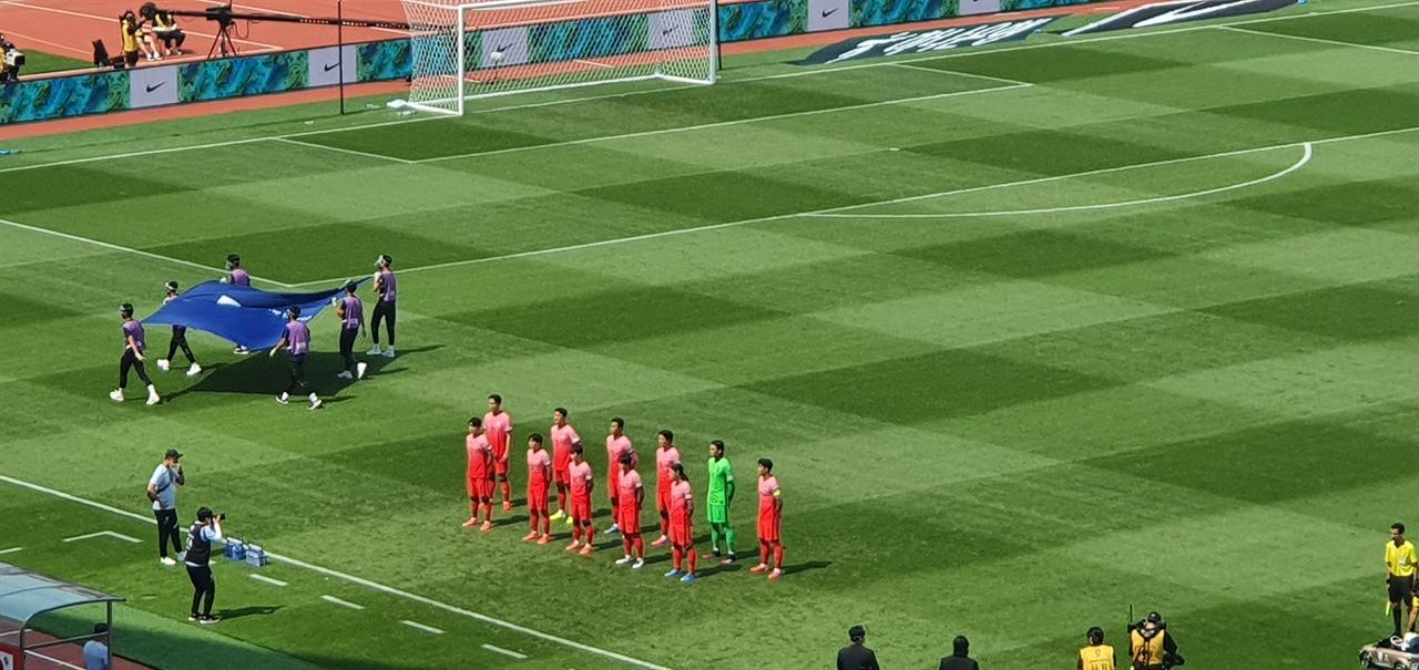 레바논전 앞두고 모인 한국 선수들
