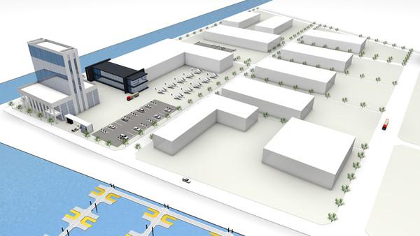 아론비행선박과 협력업체들이 들어설 복합단지 상상도.